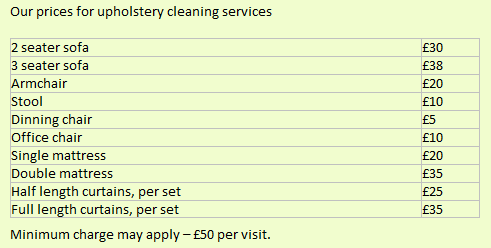 Upholstery cleaning prices